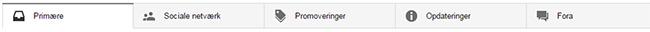 Gmail indbakke med faner