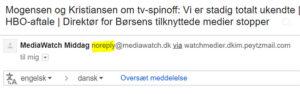 Eksempel på email nyhedsbrev med noreply-afsender