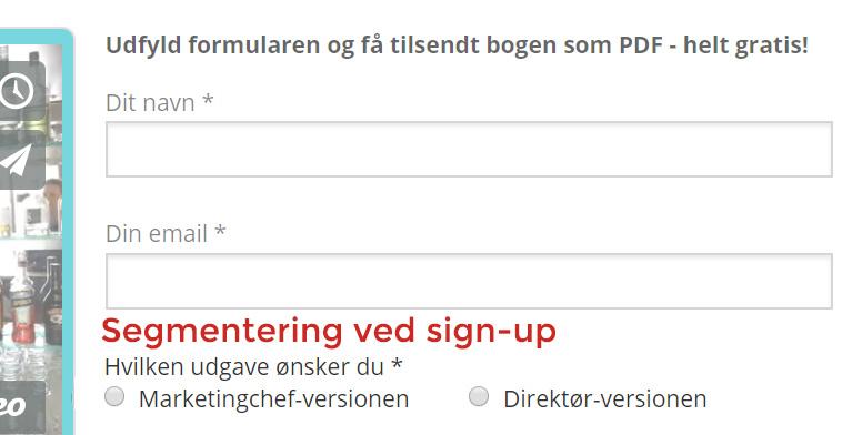 Eksempel på segmentering ved sign-up