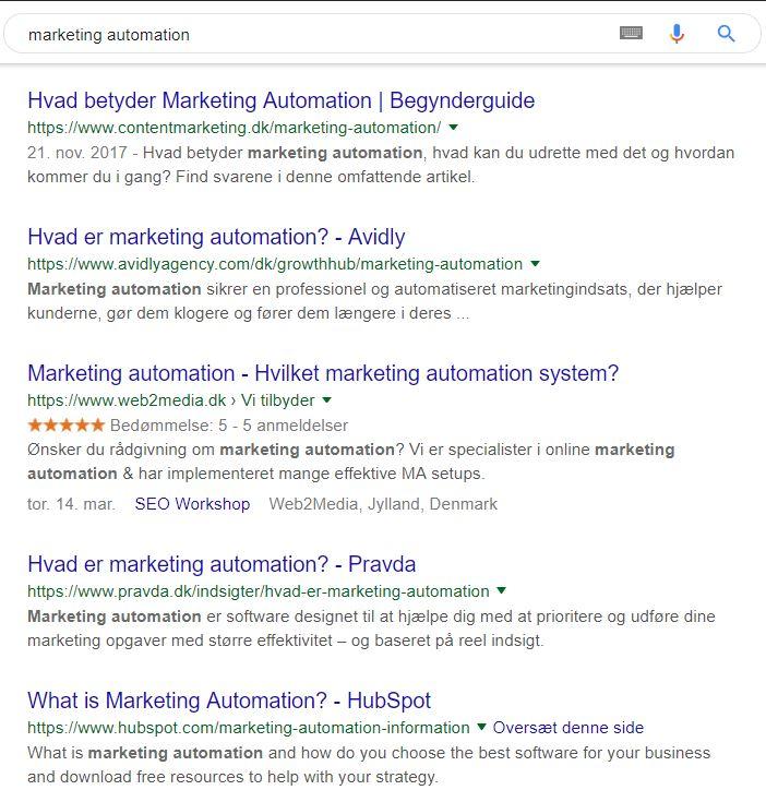Søgeresultater på Marketing Automation